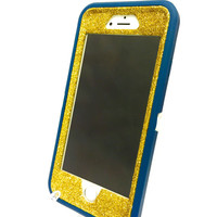 iPhone 6 (4.7 inch) OtterBox Defender Series Case Glitter Cute Sparkly Bling Defender Series Custom Case  Deep water blue / yellow gold