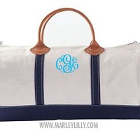 Monogrammed Navy Round Duffel Bag | Overnight Bag | Marley Lilly