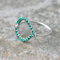 Teal Circle Silver Ring Green Blue Beads