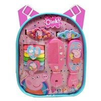 E-ONE Peppa Pig Backpack Hair Accessory Set Hairbrush, Hair Clips, Ponies