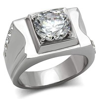Mens Wedding Rings TK311 Stainless Steel Ring with AAA Grade CZ
