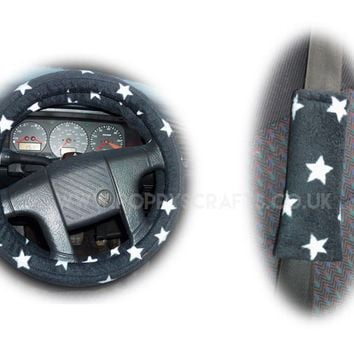 Black and White Star Print fleece Steering wheel cover & matching seatbelt pad set