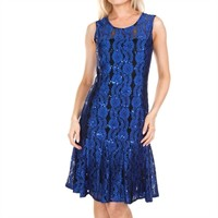 Alex Evenings Sleeveless Lace Fit-and-Flare Dress with Sequin Embellishments at Von Maur