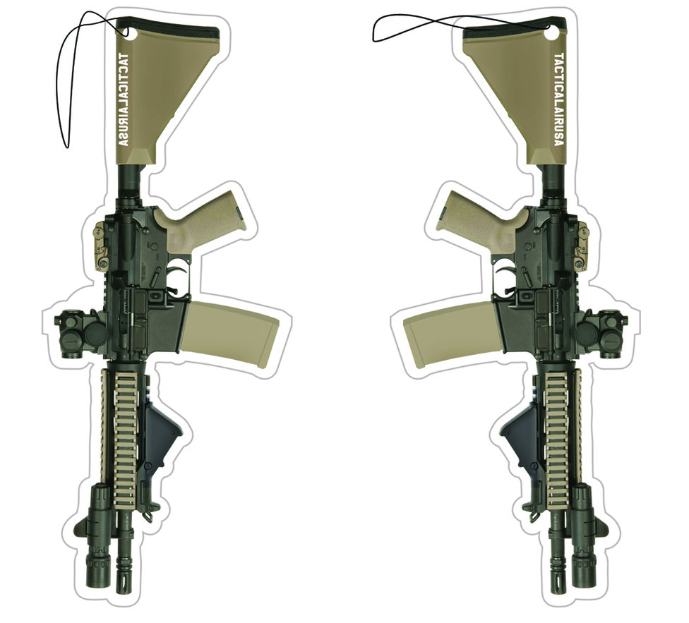 Image of TACTICAL BLACK AND DESERT TAN AR15 WITH MRO AND FLASHLIGHT AIR FRESHNER