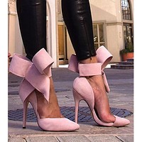New large size oversized butterfly pointed suede hollow high heels