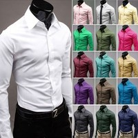 Mens Button Up Shirts - 17 Color Business Shirts