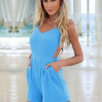 Blue Backless Chiffon Playsuit by ClearBaby