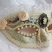 Ivory Satin Brocade Masked Ball Masquerade Mask with Lace