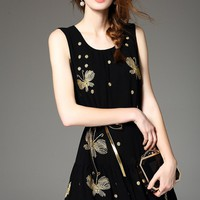 Embroidered Gold Butterfly Dress