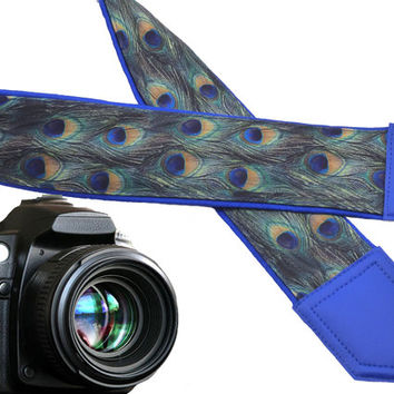 Peacock Camera strap.  Blue. Green. Golden. Camera accessory. Wearable tech & accessories.  Personalization: embroidery and pocket!