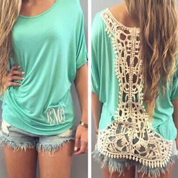 Lace Embroidered Back Shirt