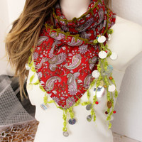 Ethnic Shawl, Red triangle scarf, Turkish scarves, Turkish ethnic scarf, Christmas gift, Hippie scarf, Handmade scarf, Coins decorations