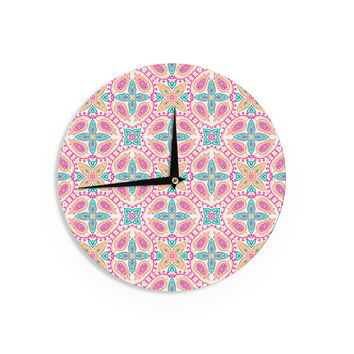 "Nandita Singh ""Boho In Multicolor"" Pink Abstract Wall Clock"