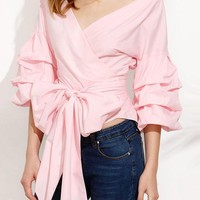 Pink Cascading Ruffle Bow V-neck Casual Polyester Blouse