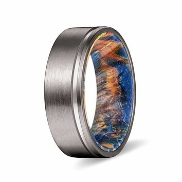 ELIO 8MM Men's Grooved Tungsten Ring with Yellow/Blue Box Elder Wood Sleeve