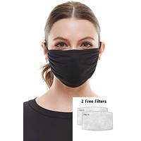 Solid black ear loop washable reusable fabric face mask