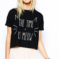 THE TIME IS MEOW Graphic Printed Crop Shirt