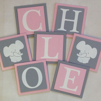 Elephant Nursery Room Decor Art Customized Baby Girl Wall Blocks, Custom Name Sign, 6x6 Square Light Pink / Gray Personalized Wooden Plaques