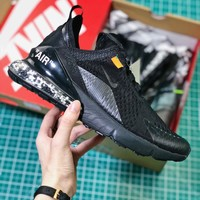 Off White X Nike Air Max 270 Cushion Black Sport Running Shoes - Best Online Sale