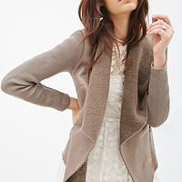Faux Suede Draped Collar Jacket