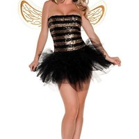 Adult Sequins Bee Costume-Top Costumes-Womens Costumes-Halloween Costumes-Party City
