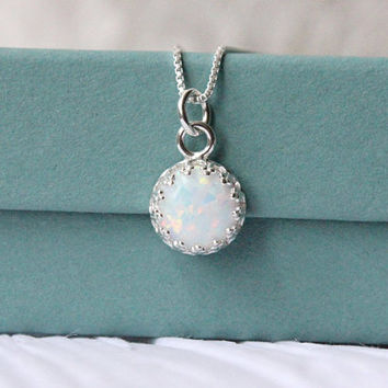 Opal necklace, October bithstone necklace, birthday gift, 925 sterling silver, 8 mm white simulated opal, wedding jewelry