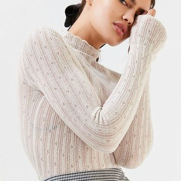 UO Poppy Pointelle Turtleneck Sweater | Urban Outfitters