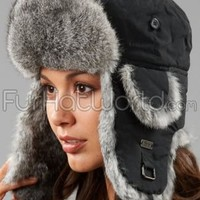 Black Trapper Hat with Grey Rabbit Fur