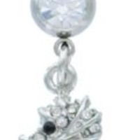 Belly Button Ring 316L Surgical Steel CZ Seahorse Navel Dangle