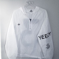 adidas Yeezy 3 Hooded Zipper Jacket Coat Windbreaker