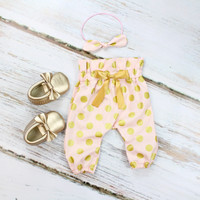 Pink and Gold Dot High Waisted Pants