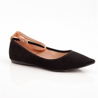 Point of Order Faux Leather Ankle Strap Pointed Ballet Flats - Black
