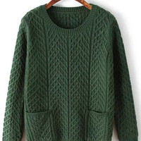 Army Green Cable Knit Pocket Sweater