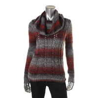 Kensie Womens Cowl Neck Marled Pullover Sweater