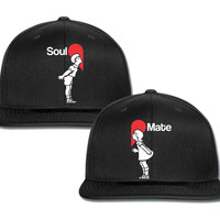 saul mate boy and girl with heart couple matching snapback cap