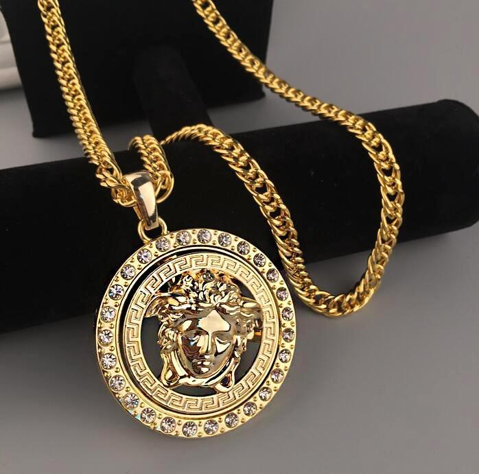 Image of Versace Fashion Men Woman Personality Diamond Golden Necklace I13391-1
