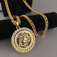 Versace Fashion Men Woman Personality Diamond Golden Necklace I13391-1