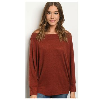Cozy Cute Wide Neck Brick Sweater Top