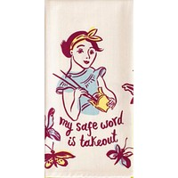 My Safe Word is Takeout Screen-Printed Dish Towel in Purple and White
