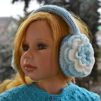 Blue and cream Earmuff, crochet flower,winter accessories,Warm and cool,Crocheted earmuffs ,Unique design,christmas gift