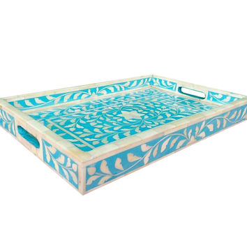 Floral  Bone Inlay Serving Tray in Blue