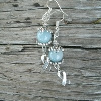 "Amazonite Gemstone and Silver Ribbon Earrings, blue Cancer awareness, silver plated wires, decorative silver caps, 10mm beads, 5/8"" charms"