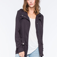 Ashley Button Flap Womens Anorak Jacket Gray  In Sizes