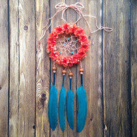 3 Inch Turquoise and Coral Dream Catcher