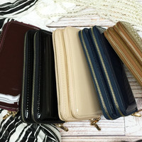 Lynn Glam Double Zip Wallet | 5 Colors