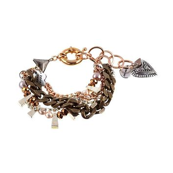 Chunky charm bracelet features a stunning arrangement of silver-plated