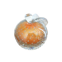 Vintage Murano Hand Blown Glass Peach Colored Apple Glass Bookend Paperweight