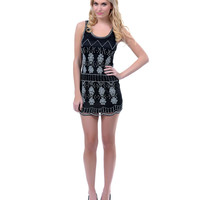 Black & Silver Flapper Style Beaded Dress - Unique Vintage - Prom dresses, retro dresses, retro swimsuits.