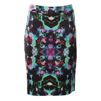 Milly Womens Satin Printed Pencil Skirt