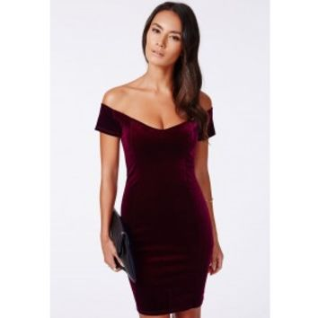 Missguided - Phyllis Velvet Bardot Bodycon Dress Burgundy